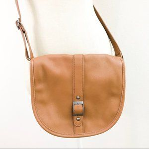 Brown Faux Leather Saddle Crossbody Bag